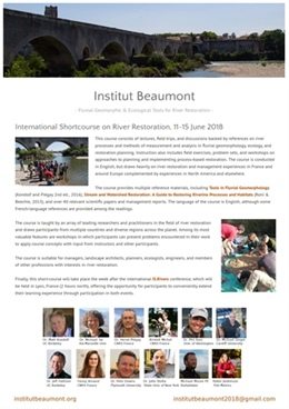 International Shortcourse on River Restoration: Fluvial-Geomorphic and Ecological Tools  11-15 june, 2018 Beaumont du Ventoux, France. Early birds untill 22nd April 2018.