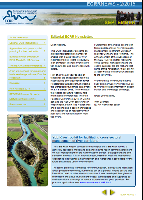 ECRR Newsletter, September 2015